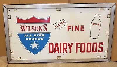 Original Wilson's Fine Dairy Products Advertising Metal Sign *milk sign