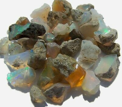 Ethiopian Welo Opal Rough Lot 100% Natural Amazing Mixed Fire Cabbing Specimen