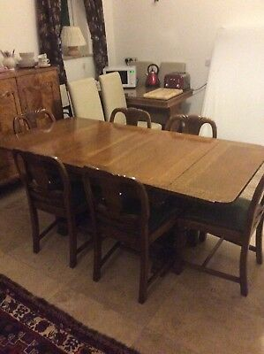 Beautiful immaculate edwardian oak dining table and 6 chairs