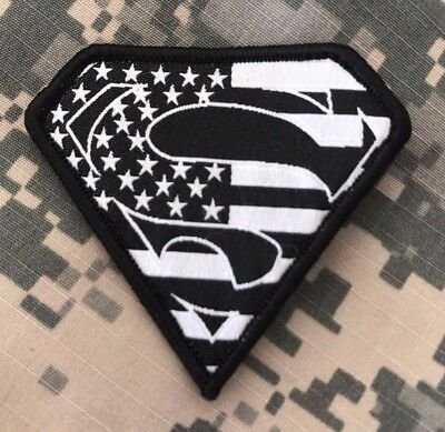 HLK Culpeper Tactical Morale Hook Patch Embroidered Superman USA Black White