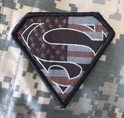 HLK Culpeper Tactical Morale Hook Patch Embroidered Superman USA Sbd Gray RWB