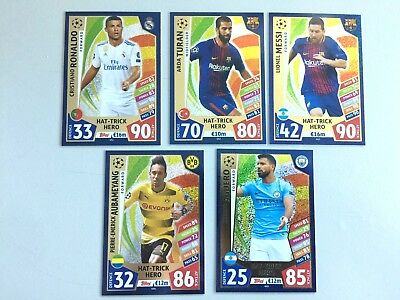 Topps Match Attax Champions 2017 2018 - Set Completo 5 Cards Hat Trick Hero