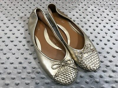Sperry Top Sider Maya Flats Gold Shiny Womens 10M Leather Casual Dressy