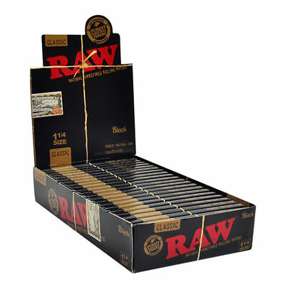 RAW Black Natural Unrefined 1 1/4 (1.25) Rolling Papers (24 Packs/Full Box)