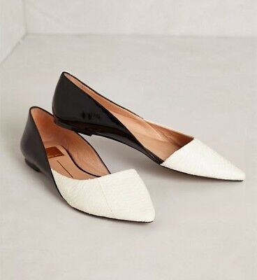 NIB Anthropologie Dita Dolce VIta D'Orsays Flats black white patent leather 7.5