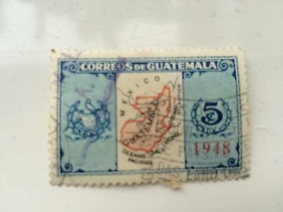 Guatemala Map Stamp - 5c 1948 used