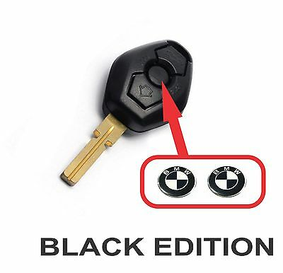 BMW Black White fob key central button domed sticker badge (Set of 2)