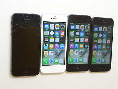 Lot of 4 Apple iPhone 5 A1428 16GB T-Mobile Smartphones 3 Power On AS-IS GSM