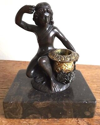 Antique Putti Cast Mal Candle Stick On A Marble Base