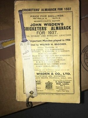 Wisden Cricketers' Almanack - 1937 - Original Spine And Covers - Very Rare!!!