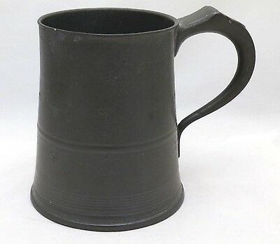 Antique Victorian English One Pint Glass Bottom Pewter Tankard