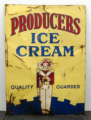 "RARE Producers Ice Cream HTF Metal Sign 20"" x 28"" Ottawa, Ontario Dairy"