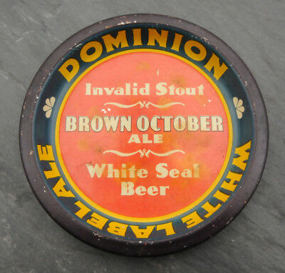RARE 1940's Dominion White Label Ale Canadian Beer Advertising Tip Tray