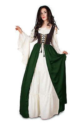 IDD Renaissance Medieval Irish Dress Costume 2Tone-Black-Fitted-Bodice OVERDRESS