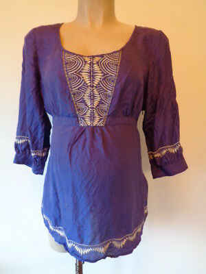 Mamas & Papas Maternity Silk Purple Embroidered Blouse Tunic Top Size 14