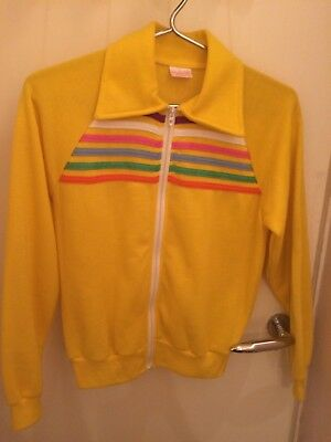 Yellow Rainbow Stripe Zipped Vintage 70s Top - 10