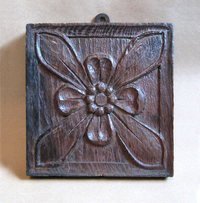Antique Carved Solid Oak Panel / Wooden Plaque Depicting A Rose 7""