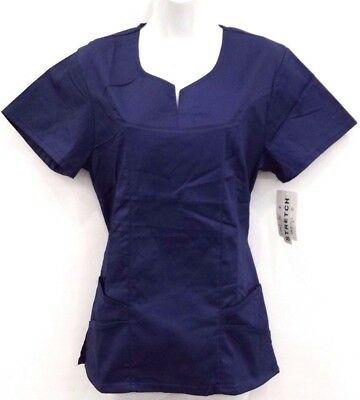 Stylish Stretch Scrub Top  Solid Color - D-T1137
