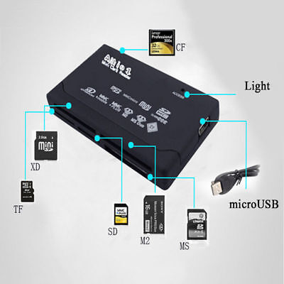All in One USB Flash Memory SD SDHC Mini Micro M2 MMC Multi Card Reader Writer