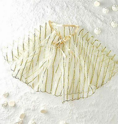 Nwt New Anthropologie Bhldn Wedding Ivory Gold Mini Cape Capelet 1 Size Fits All