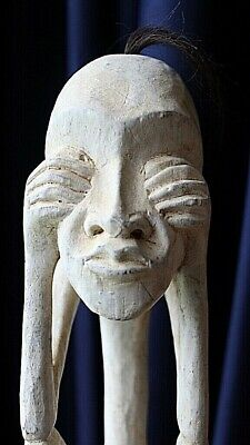 Antique Stunning WOODEN Primal Carving With A TRIBAL Theme