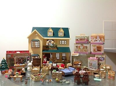 Sylvanian Families House On The Hill With Xmas Set, Figures & Furniture Etc..