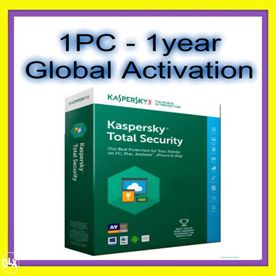 Kaspersky Total Security License 2017 2018 1 PC 1Year Full WORLDWIDE ACTIVATION