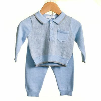 NEW gorgeous baby boys blue and grey 2pc set by Zip ZAp , Spanish/Romany/Trad.