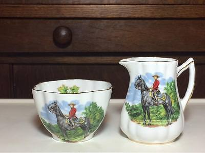 "Rosina cream and sugar set made in England ""Royal Canadian Mounted Police"""