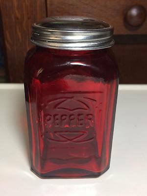 Reproduction Red glass pepper shaker