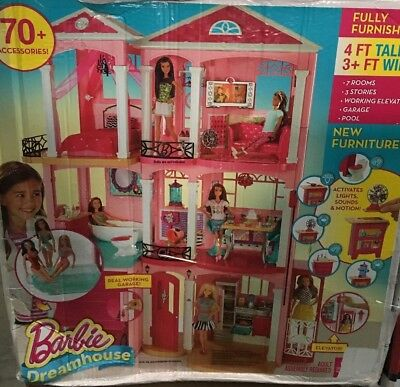 Barbie Dream House, 3 Story Pink Doll House w/ accessories - NEW