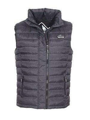 NEW SUPERDRY Men's Premium Fuji Double Zip Vest Jacket Outerwear Black Marl