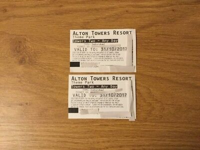 2 x Alton Towers Tickets October half term - Use By 31/10/2017