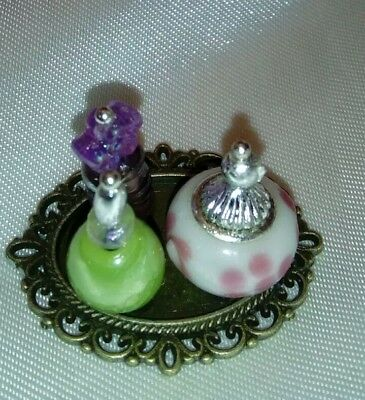 Dolls House Miniature 1 12Th Scale Perfume Bottles And Tray