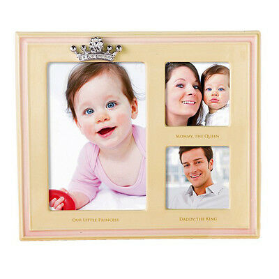 Grasslands Road Baby Girl Crown Princess Natural/Pink Triple Photo Frame 445829