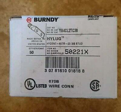 BURNDY Copper Two Hole Lug Compression Connector,4 AWG, YA4CL2TC38 Lot of 50