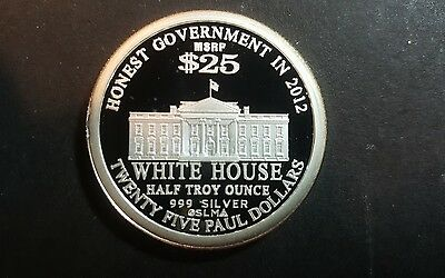 2010 RON PAUL NORFED $ 25 1/2 oz.999 FINE SILVER  IN MINT CONDITION VERY RARE