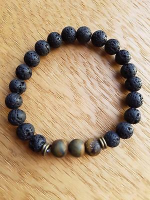 TE005 lava stone & tigerseye grounding oil diffuser bracelet made in aus 3 sizes