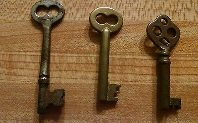 Lot of 3 Vintage Skeleton Keys 1 Corbin P10 & 2 Hollow Barrels