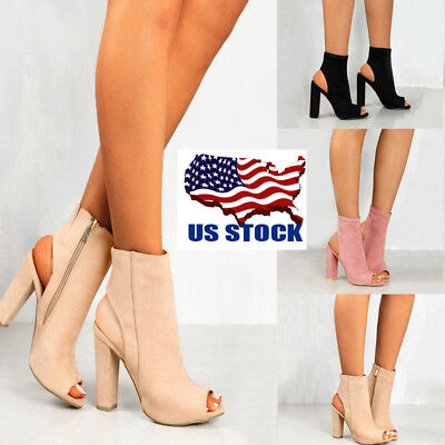 US Women Chunky High Heels Zip Up Sandals Open Toe Pumps Cut Out Shoes Size 6-10