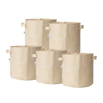 5Pcs/Pack Tan Fabric Grow Pots Breathable Plant Bags Smart Plant with handle