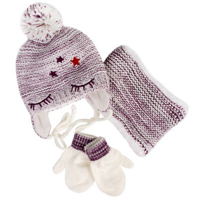 Girls' Pompom Hat, Snood Scarf and Mittens Set  White Purple 2-4 Years