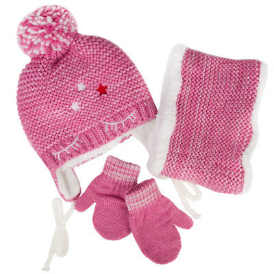 Girls' Pompom Hat, Snood Scarf and Mittens Set 6-13 Years White Pink