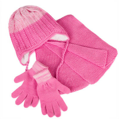 Girls' Pompom Hat, Snood Scarf and Gloves Set 6-13 Years Pink Hat for Girls