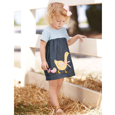 Mud Pie E7 Farmhouse Summer Baby Girl Goose & Chicks Chambray Dress 1142196