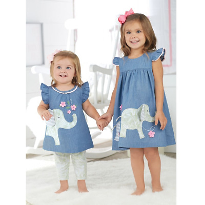 Mud Pie E7 Safari Baby Toddler Girl Elephant Chambray Dress 1142201