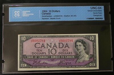 1954 $10 Canada Bank Note CCCS Certified UNC-64 Devil's Face Changeover
