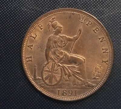 Great Britain 1891 Victoria  Halfpenny  Coin  Red aUNC