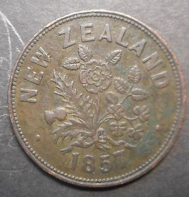 New Zealand 1857 M Sommerville Auckland Penny Token Coin Nice