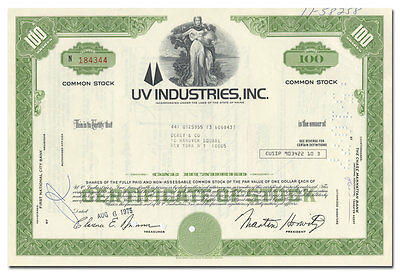 UV Industries, Inc. Stock Certificate